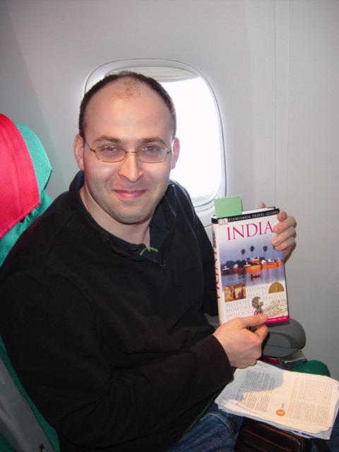 Adi preparing in flight...