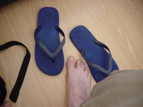 Adi's Flip Flops and James' Foot