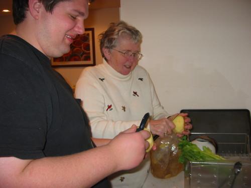 Dianne & Grant peeling apples